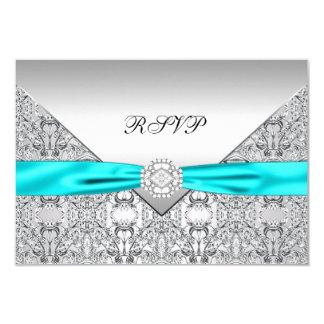 OSA för krickablåttdiamantbröllop 8,9 X 12,7 Cm Inbjudningskort