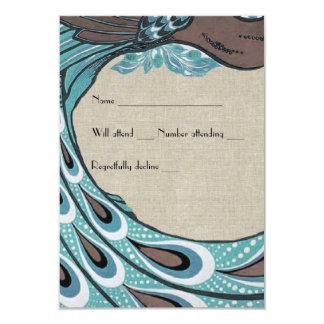 Osa för linne för brunt för blåttvintagepåfågel 8,9 x 12,7 cm inbjudningskort