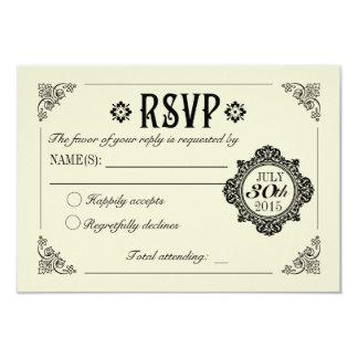 OSA för vintageelegant bröllopinbjudan 8,9 X 12,7 Cm Inbjudningskort