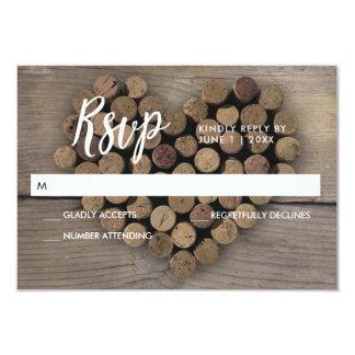 OSA kort för vinkorkhjärta 8,9 X 12,7 Cm Inbjudningskort