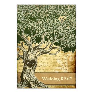 OSA kort för vintage bröllop för landOakträd 8,9 X 12,7 Cm Inbjudningskort