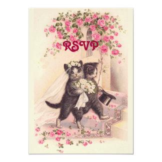 OSA som gifta sig katter i mjuk rosa inbjudan 12,7 X 17,8 Cm Inbjudningskort