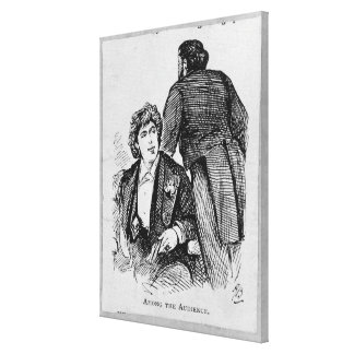 Oscar Wilde (1854-1900) bland åhörarna (engrav Canvastryck