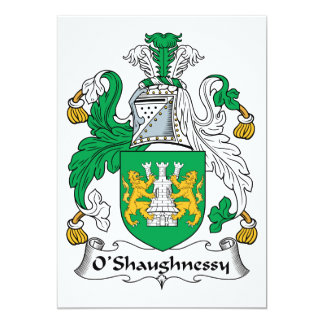 O'Shaughnessy familjvapensköld 12,7 X 17,8 Cm Inbjudningskort