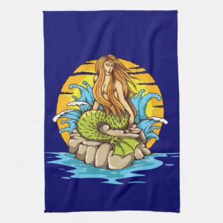 Ösjöjungfru med stam- konst för soltatueringstil kökshandduk