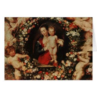 Oskuld med en girland av blommor, c.1618-20 hälsningskort