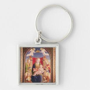 Oskuld och barn med ängelmusiker och saints fyrkantig silverfärgad  nyckelring dff401a43a399