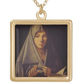 Oskulden bebådar (olja på panel) guldpläterat halsband