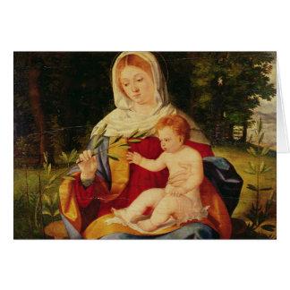 Oskulden och barnet med en for av oliv hälsningskort
