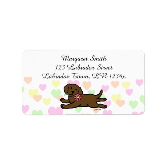 Oskyldig tecknad för chokladLabrador valp Adressetikett