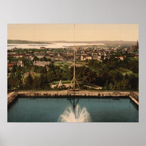 Oslo från St Hanshaugen parkerar norgearkivtrycket Affischer