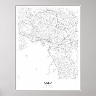Oslo Minimalist kartaaffisch för norge (stil 2) Poster