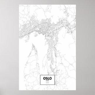 Oslo norge (svarten på vit) poster