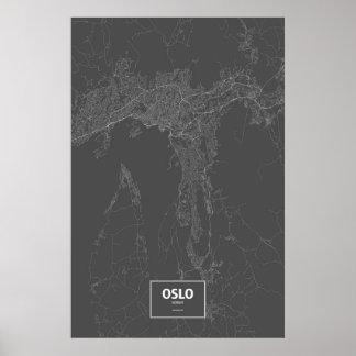 Oslo norge (vit på svart) affischer