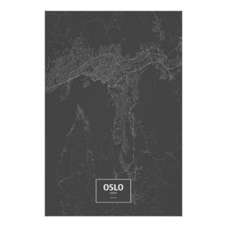 Oslo norge (vit på svart) poster