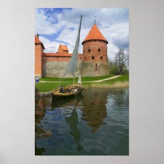 Öslott vid sjön Galve, Trakai, Litauen Poster