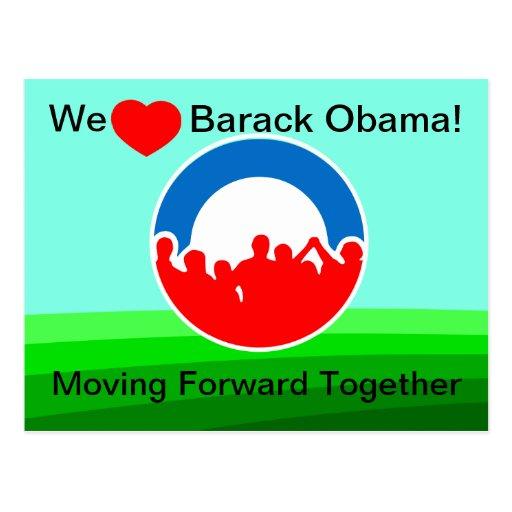 Oss framåt hjärtaBarack Obama-Flytta tillsammans Vykort
