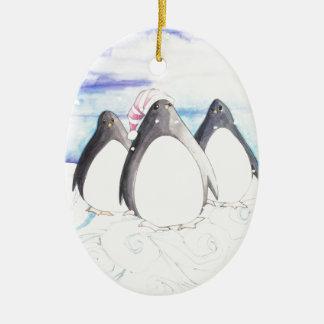 Oss tre pingvin julgransprydnad keramik