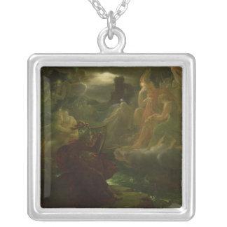 Ossian som trollar upp andarna av floden silverpläterat halsband