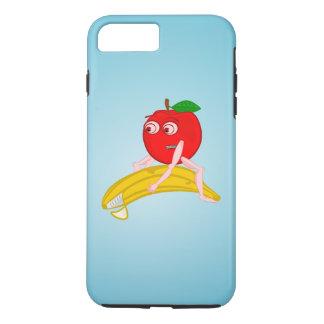 Osteopathfrukt roliga Apple som rätar ut en banan