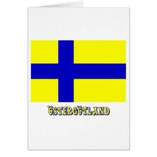 Östergötland flagga med (det inofficiella) namn, hälsningskort