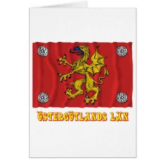 Östergötlands län som vinkar flagga med namn hälsningskort