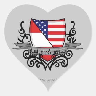 Österrikare-Amerikanen skyddar flagga Hjärtformat Klistermärke