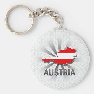 Österrike flaggakarta 2,0 rund nyckelring