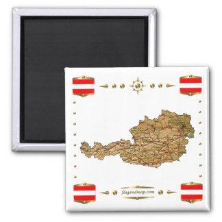 Österrike karta + Flaggormagnet Magnet För Kylskåp