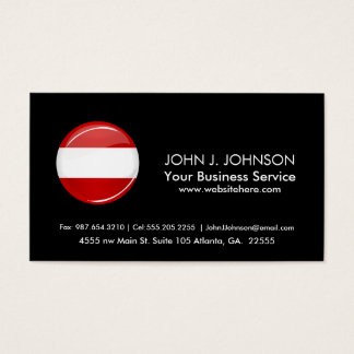 Österrikisk flagga för glansig runda visitkort
