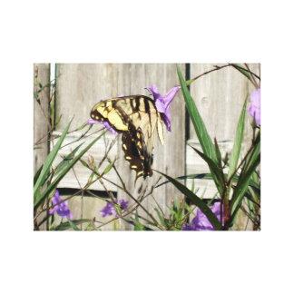 Östlig tiger Swallowtail i mexicanska Petunias Canvastryck