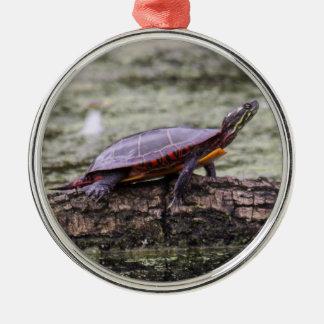 Östra målad sköldpadda julgransprydnad metall