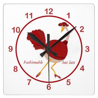 Ostrichen i rött är Fashionably sen Fyrkantig Klocka