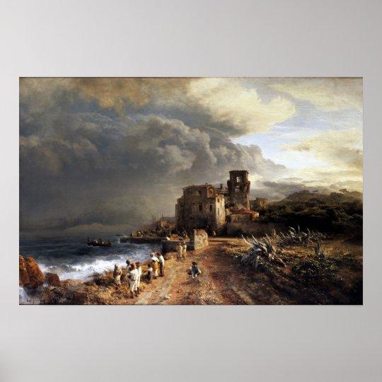 Oswald landskap den Achenbach skuggade sjösidan Poster