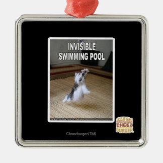 Osynlig simbassäng julgransprydnad metall