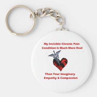 Osynligt kroniskt smärtar röd hjärta rund nyckelring