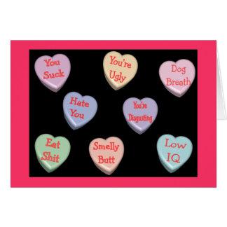 Otäckt Velentines för godishjärtameddelanden kort