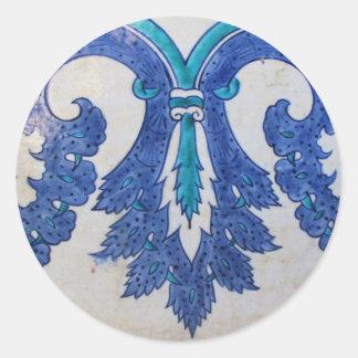 Ottomanen belägger med tegel blått och vit runt klistermärke