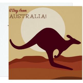 Outback känguru fyrkantigt 13,3 cm inbjudningskort