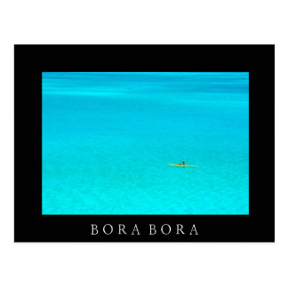 Outriggerkanot i Bora Bora svart textvykort Vykort