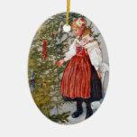 Oval för prydnad för Carl Larsson julgran Julgranskulor