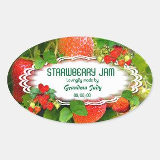 Oval klistermärke #3 för jordgubbesylt~