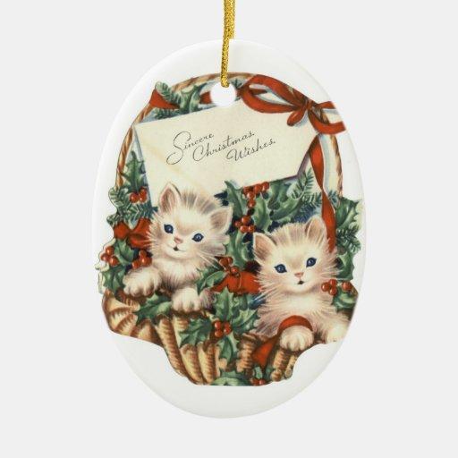 Oval prydnad för vintagejulkattungar julgranskula