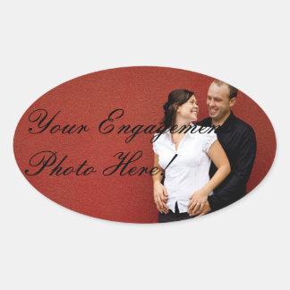 Ovala klistermärkear för bröllopförlovningfoto ovalt klistermärke