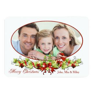 Ovalt fotokort för jul 12,7 x 17,8 cm inbjudningskort
