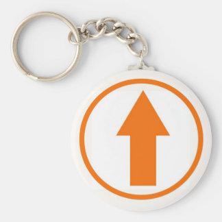 Ovanför påverkan - orange rund nyckelring