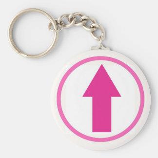Ovanför påverkan - rosa rund nyckelring