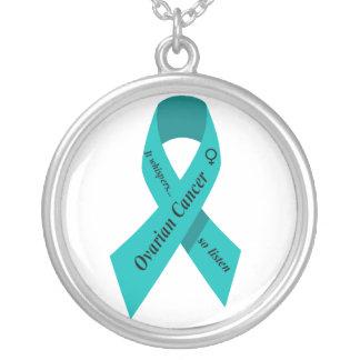 Ovarian cancermedvetenhethalsband silverpläterat halsband