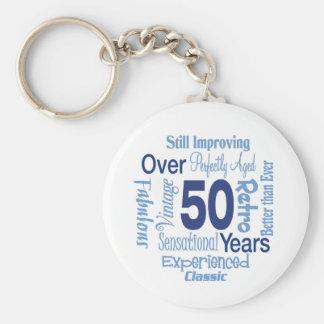 Över 50 år 50th födelsedag rund nyckelring