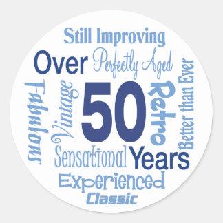 Över 50 år 50th födelsedag runt klistermärke
